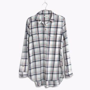 Madewell Women's White Lisse Plaid Shirt Medium